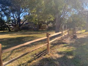Post and Rail wood fence