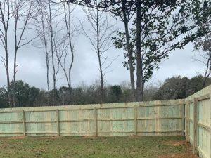 Stockade privacy wood fence